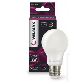 LED лампа VELMAX V-A60 8W E27 3000K 700Lm угол 240°