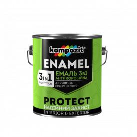 """Емаль антикорозійна 3в1 """"Композит"""" PROTECT біла RAL 9016 0,75 кг"""