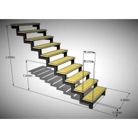 Прямая лестница с металла с перилами