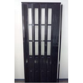 Дверь гармошка полуостекленная 860х2030х10мм. Черное дерево №685