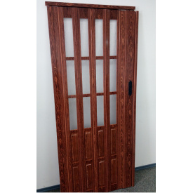 Дверь гармошка полуостекленная 860х2030х10мм. Черешня №7107