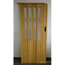 Дверь гармошка полуостекленная 1020х2030х10мм ДУБ Светлый №269