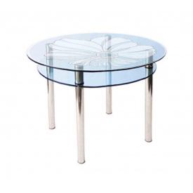 Стол обеденный круглый КС - 3 стекло 10 мм пескоструй