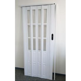 Дверь гармошка полуостекленная 860х2030х10мм. Белый №822