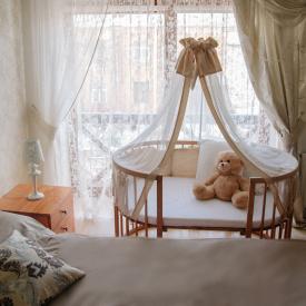 Детская кроватка-трансформер круглое бук 76х76 см