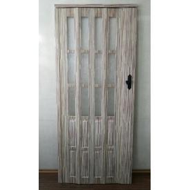 Дверь гармошка полуостекленная 860х2030х10мм. БАМБУК №910