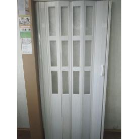 Дверь гармошка полуостекленная 860х2030х10мм Дуб Беленый №9