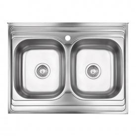 Кухонная мойка с двумя чашами Lidz 6080 0,8 мм Decor (LIDZ6080DEC08)
