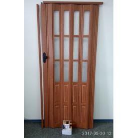 Дверь гармошка полуостекленная 860х2030х12мм. Вишня CL №806