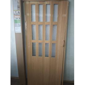 Дверь гармошка полестекленная 860х2030х10мм Сосна Медовая №10