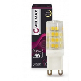 Светодиодная лампа Velmax V-G9 4W G9 3300K 380Lm угол 360°