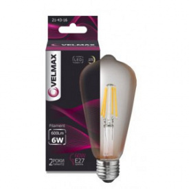 LED лампа VELMAX V-Filament-Amber-ST64 6W E27 2500K 600Lm