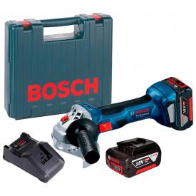 Акумуляторна безщіткова кутова шліфмашина Bosch Professional GWS 180-LI з 2 акб GBA 18V 4,0 Ah та з/п GAL 18V