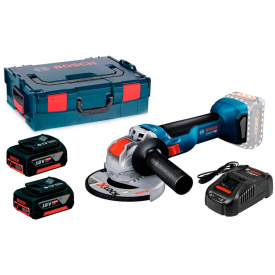 Акумуляторна кутова шліфмашина Bosch Professional GWX 18V-10 з 2 АКБ 18V 5A/h з/п GAL 1880 CV та кейсом L-BOX