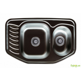 Мийка 7851D, врізна 780х510х180 Декор 0,8 см (без отвору під змішувач) Platinum