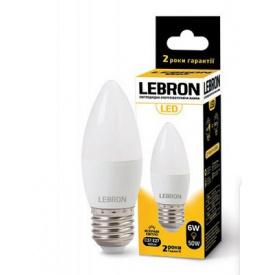 LED лампа Lebron L-С37 6W Е14 3000K 480Lm кут 220°