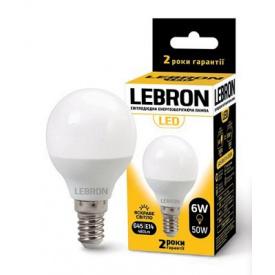 LED лампа Lebron L-G45 6W Е14 3000K 480Lm кут 220°
