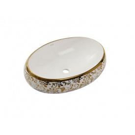 Раковина NEWARC Countertop (5015G-W) накладна, 600x400 мм, колір золото/колір білий