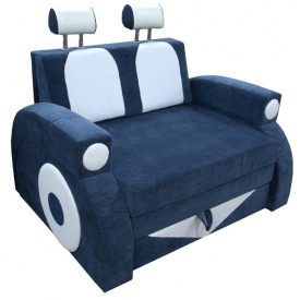 Раскладной детский диванчик машинка Ribeka Фаэтон с подлокотниками Синий (25M02)