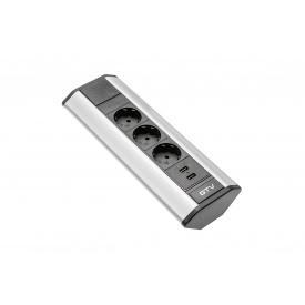 Настольный удлинитель GTV угловой на 3 вилки и 2 USB серебристый