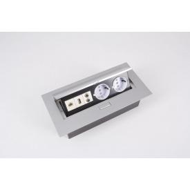 Настольный встраиваемый удлинитель GTV на 2 вилки и USB алюминий