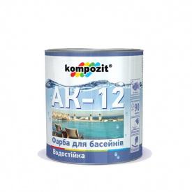 """Краска для бассейнов АК-12 """"Kompozit"""" голубой 2,8 кг"""