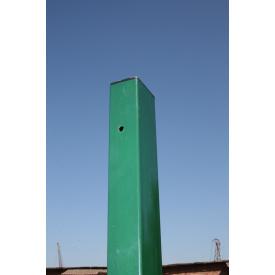 Столб для забора из профильной оцинкованной трубы с полимерным покрытием 60x40x1,5 мм 2,5 м