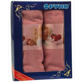Набор кухонных махровых полотенец Руно розовый 40х60 см 2 шт
