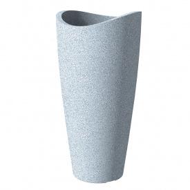 Кашпо для цветов Scheurich Wave Globe Slim пластик 80 гранитно-белый