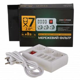 Фільтр-подовжувач мережевий LogicPower LP-X7 7 розеток 2 м з заземленням