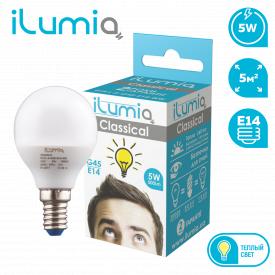 Светодиодная лампа ilumia 014 L-5-G45-E14-WW 500Лм 5Вт 3000К