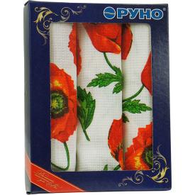 Набор кухонных полотенец Руно в подарочной упаковке Маки 45х80 см 3 шт
