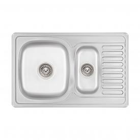 Кухонная мойка с дополнительной чашей Lidz 7850 0,8 мм Micro Decor (LIDZ7850MDEC)