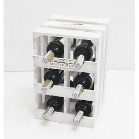 Підставка для вина Холодна ковка Прованс Ящик Вертикальний на 6 пляшок білий
