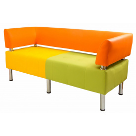 Диван Richman Офис Двойка 1550 x 680 x 450H см Со спинкой и подлокотниками Флай 2218/2240/2234 Оранжевый/Желтый/Зеленый