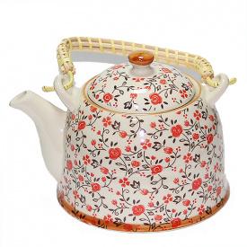 Чайник заварочный O'Lens керамический с металлическим ситом Красный цветок 900 мл