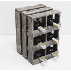 Підставка для вина Холодна ковка Прованс Ящик вертикальний на 6 пляшок коричневий
