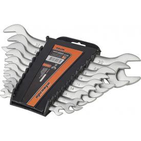 51-510 Набор ключей рожковых CRV сатин 10шт(6-32мм) усиленнойпрочности PREMIUM
