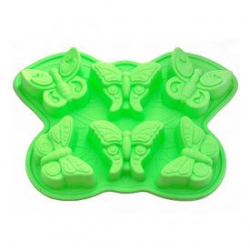 Силіконова форма для випічки 6 кексів Fissman Метелик 32,5х23х3,8 см зелена BW-6660.6