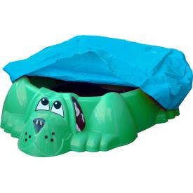 Песочница-бассейн зеленая Собачка PalPlay с накрытием