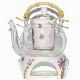 Чайник заварочный O'Lens стеклянный с фарфоровым ситом и керамической подставкой Прованс 800 мл