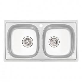 Кухонная мойка с двумя чашами Qtap 7843-B 0,8 мм Micro Decor (QT7843BMICDEC08)