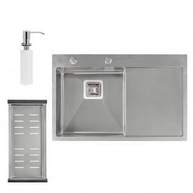 Набор 3 в 1 Qtap кухонная мойка DK7850L 3.0/1.2 мм Satin + сушилка + дозатор для моющего средства