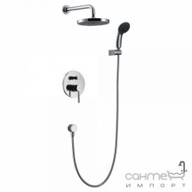 Душевая стойка скрытого монтажа со смес-м для ванны и верх. душем Blue Water Denver DEN-ZKP 150C + BW KW 20 ULTRA SLIM хром