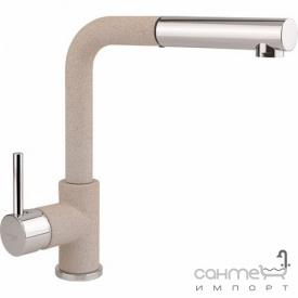 Гранитный смеситель для кухни с выдвижной лейкой AquaSanita Modus 2383-202 алюметаллик