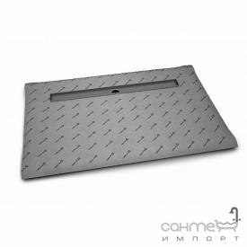 Прямоугольная душевая плита с линейным трапом вдоль длинной стороны Radaway 5DLA1608A с решёткой 5R115B Basic (плитка 8-12 мм)