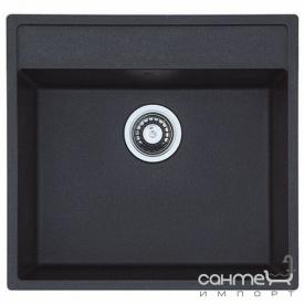 Гранитная кухонная мойка под столешницу Fabiano Cubix 53x50 Antracit черная