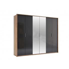 Шестидверный шкаф Luna с зеркалами Лава/Дуб Крафт