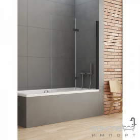 Шторка для ванни New Trendy New Soleo Black P-0044 R чорна / прозоре скло правобічна