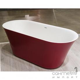 Отдельностоящая ванна из литого камня Balteco Fiore 160 белая внутри/Salmon Orange RAL 2012